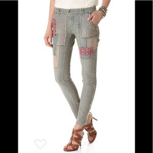 Free People Railroad Patched Jean Pinstripe Pants